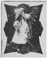 Matted print of Grace Stonebridge picking flowers, Bronx, N.Y., undated [c. 1898?].