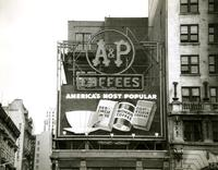 A&P coffees and food stores electric billboard, New York City.