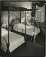 Bedroom in the Waldorf-Astoria Hotel, 301 Park Avenue, New York City.