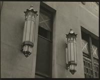 Close-up exterior view of lighting fixtures at the Waldorf-Astoria Hotel, 301 Park Avenue, New York City.