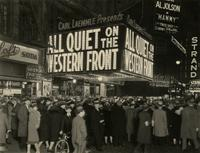 "Crowd in front of the Central Theater showing ""All Quiet on the Western Front"" at Broadway and 47th Street, New York City."