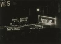 Illuminated marquee advertising Private Lives at the Times Sqaure Theater, 217 West 42nd Street, New York City.