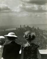 Women looking south from observation deck, Empire State Building, New York City.