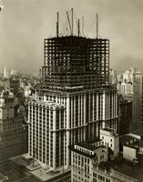 """Going Up"" [aerial view of Empire State Building during construction from northeast corner of Fifth Avenue and 34th Street, New York City]."
