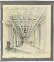 [United States Supreme Court Building presentation drawing, depicting an interior hall], Cass Gilbert, architect, [drawn by John T.] Cronin, 1926.