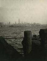 View across the Hudson River toward Manhattan from ferry dock in New Jersey.