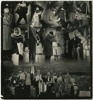 Photomontage showing people working in the streets above view of New York City skyline from Lower Manhattan.