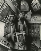 """Metal Age Moderne"" [Photomontage of Chrysler Building, Empire State Building, and Waldorf Astoria towers with details of metalwork on other buildings in New York City]."