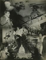 Photomontage including airplanes, Fiorello LaGuardia, cruise ship passengers, a beer drinker, the United States Capitol, and other scenes.