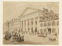 Bowery Theatre, New York City : study for Plate 7A of 'Bourne's views of New York'.