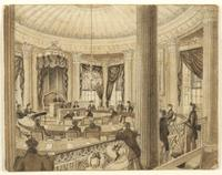 Council Chamber, City Hall, New York City : study for Plate 9A of 'Bourne's views of New York'.