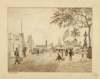 Steamboat Wharf, Whitehall Street, New York City : study for Plate 12B of 'Bourne's views of New York'.