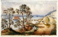 Staten Island and the Narrows from Fort Hamilton, New York : study for a lithograph.