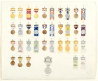 Designs for 35 pin bars and ribbons for the badges of the centennial celebration of the inauguration of George Washington.