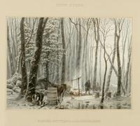 Snow storm : Canada settlers in their sugar camp.