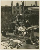 Woman and dogs on rooftop deck of Arthur Shettle residence, Washington Mews, New York City.