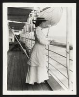 Alice Roosevelt aboard the SS Manchuria, undated [circa 1905].