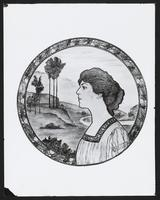 Photograph of a drawing of Ethel Barrymore with a landscape in the background, undated [circa 1900-1910].