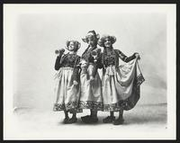 Unidentified actresses in dirndls, holding steins, undated [circa 1900-1910].