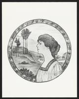 Ethel Barrymore, reproduction of portrait painting with landscape background, undated [circa 1900-1910].