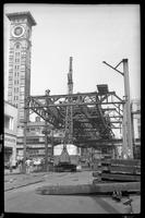 Fulton Street El, Brooklyn, at Hudson and Fulton Streets, June 23, 1941. Demolition between 9:30 and 12 AM.