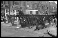 Fulton Street El, Brooklyn, at Hudson and Fulton Streets, June 23, 1941. Demolition in progress.