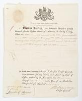 Cover certificate from Thomas Barclay, also signed by Horatio Gates Stevens, dated April 3, 1801.