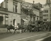 Stagecoach in front of Chin Lee restaurant at 1604 Broadway, New York City.