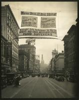 View looking south from Broadway and 53rd Street showing Warner Bros. banners.