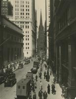 """Aisles of Steel"" [view of Wall Street looking west toward Trinity Church from near Broad Street]."