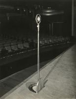Microphone on Earl Carroll Theatre stage, 753 Seventh Avenue, New York City.