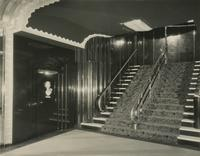 Lobby stairs inside the Earl Carroll Theatre, 753 Seventh Avenue, New York City.