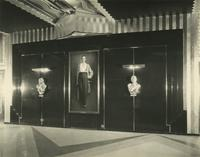 Portrait of Earl Carroll with busts of Doris Andrese and Beryl Wallace in Earl Carroll Theatre lobby, 753 Seventh Avenue, New York City.