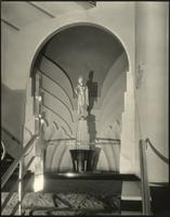 Sculpture on stairway inside Earl Carroll Theatre, 753 Seventh Avenue, New York City.