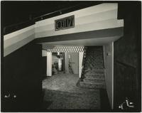 View of stairway from auditorium in the Earl Carroll Theatre, 753 Seventh Avenue, New York City.