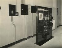 Electronic control panel inside the Earl Carroll Theatre, 753 Seventh Avenue, New York City.