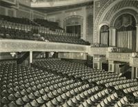 View of balcony and orchestra seating inside Forrest Theatre [i.e. Eugene O'Neill Theatre], 230 West 49th Street, New York City.