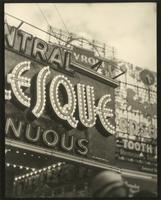 Detail of Republic Theatre marquee advertising Minsky's Burlesque, 209 West 42nd Street, New York City.