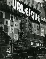 Exterior of Republic Theater advertising Minsky's Burlesque, 209 West 42nd Street, New York City.