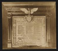 [World War, 1917-1919, memorial plaque listing dead of Company B, 107th Infantry, 27th Division U.S.A., 165th Infantry, 42nd Division U.S.A., and other organizations].