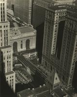 Aerial view of Grand Central Terminal and Park Avenue Viaduct, New York City.