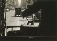 """A Motorman's View Down Broadway"" [New York City streetcar]."
