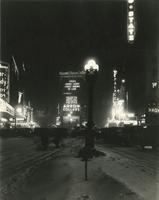 """Broadway on a Bleak Winter Night"" [view looking north from Broadway near 45th Street, New York City]."