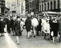 Crowded crosswalk, Herald Square, 34th Street, New York City, undated.