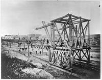 Constructing the Ninth Avenue El [?] at W. 65th Street, 1878. Copy photograph dated May 24, 1940.