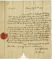 Abigail Adams letter, London, to Cotton Tufts, Boston, July 20, 1787, page [1].