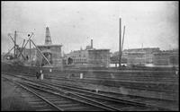 Bronx El, Bronx, Suburban Railway bridge construction seen from the rail yards on the Bronx side, 1883 or 1884.