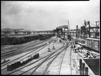 Bronx El, Bronx, under construction, 1884-5. View west and south to E. 122nd Street near Alexander Avenue.