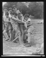 Boys playing tug-of-war at William Carey Camp, Jamesport, New York.