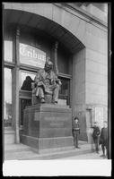 Horace Greeley statue in front of the Tribune Building, New York City, December 1891.